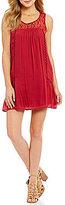 Sequin Hearts Sleeveless Lace Illusion Yoke Lattice-Inset Shift Dress
