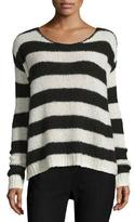 ATM Anthony Thomas Melillo Striped Wool-Blend Sweater, Chalk/Black