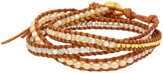 Chan Luu 18K Over Silver 4Mm Mother-Of-Pearl, Pearl, & Leather Wrap Bracelet