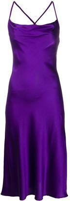 Andamane Cowl Neck Cross-Strap Satin Midi Dress