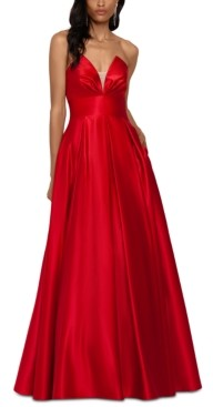 Betsy & Adam Strapless Satin Ball Gown