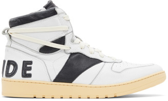 Rhude White and Black Rhecess Hi Sneakers