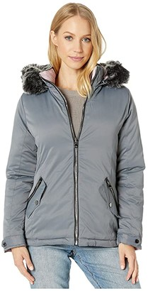 YMI Snobbish Reversible Polyfill Jacket with Faux Fur Trim Hood (Olive/Black) Women's Clothing