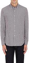 Barneys New York MEN'S GINGHAM COTTON DRESS SHIRT-BURGUNDY SIZE S