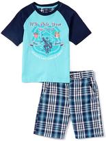 U.S. Polo Assn. Aqua 'USPA' Raglan Tee & Plaid Shorts - Infant & Boys