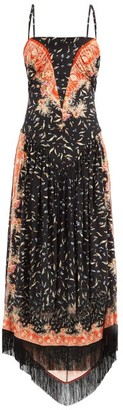 Paco Rabanne Fringed-hem Floral-print Crepe Dress - Multi