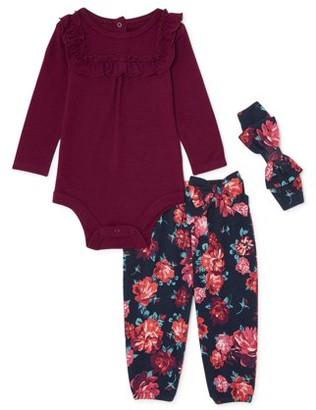 Miniville Baby Girls' Bodysuit, Floral Pants & Headband Outfit, 3-Piece Set