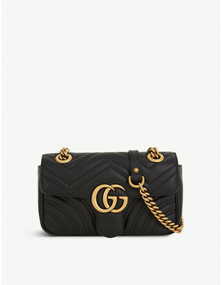 Gucci Women's Black Heart Embroidered Marmont GG Mini Leather Cross Body Bag