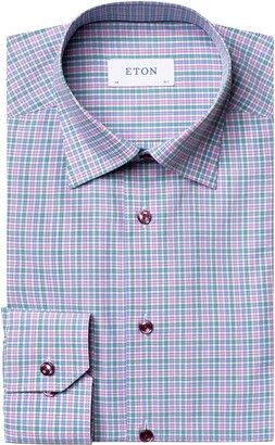 Eton Contemporary Fit Pink & Green Check Dress Shirt