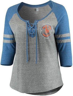 New Era Women's 5th & Ocean by Heathered Gray/Royal New York Mets Plus Size Jersey Tri-Blend 3/4-Sleeve Raglan Lace-Up V-Neck T-Shirt