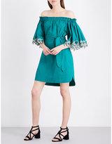 Sandro Off-the-shoulder cotton-poplin dress
