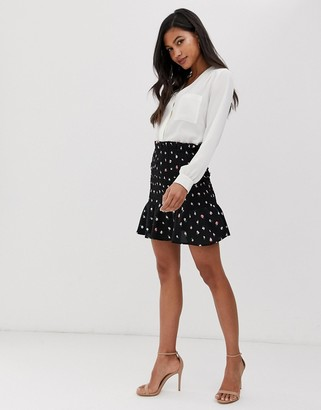 Fashion Union shirred mini skirt in floral