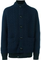 Sacai layered cable knit cardigan - men - Cotton/Polyester/Wool - III