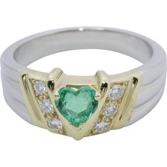 Non Signé / Unsigned Vintage Non Signe / Unsigned Motifs Coeurs Green Platinum Ring