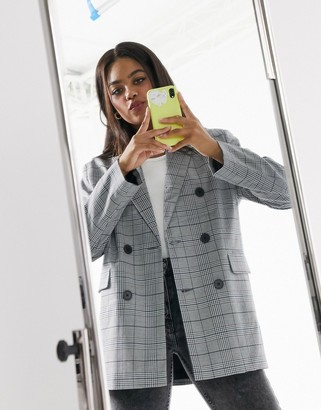 Stradivarius double-breasted blazer in grey checks