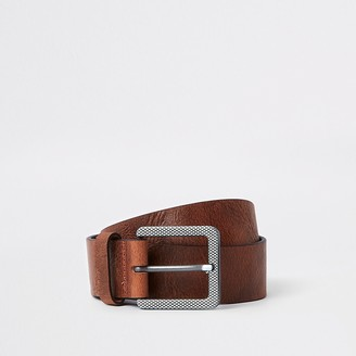 River Island Brown textured square buckle jeans belt