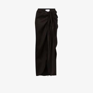 BONDI BORN Draped Tie Front Midi Skirt