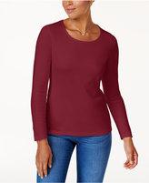 Karen Scott Petite Cotton Long-Sleeve T-Shirt, Created for Macy's