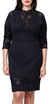 Rachel Roy Plus Size Women's Lace Contrast Body-Con Dress