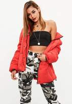 Missguided Red ultimate oversized puffer jacket
