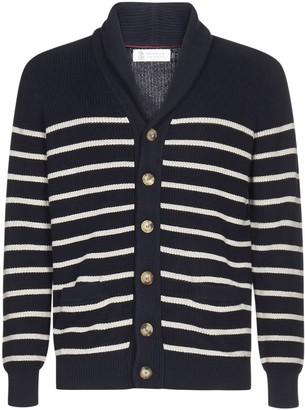 Brunello Cucinelli Stripe Button-Up Cardigan