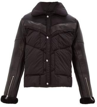 Schott Leather Sleeves Technical Quilted Shearling Jacket - Mens - Black