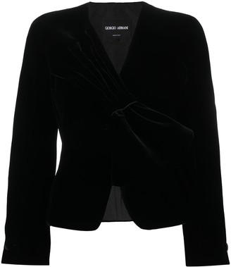 Giorgio Armani Bow-Tie Velvet Blazer