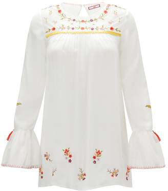 Joe Browns Embroidered Round Neck Blouse with Long Ruffled Sleeves
