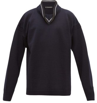 Y/Project Folded High-neck Wool Sweater - Navy