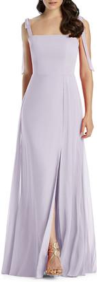 Dessy Collection Square-Neck Tie-Strap A-Line Chiffon Dress