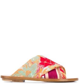 Forte Forte Floral-Patterned Flat Sandals