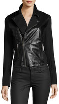 LAmade Knit-Sleeve Leather Jacket, Black