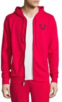 True Religion Front-Zip Horseshoe Hoodie, Red