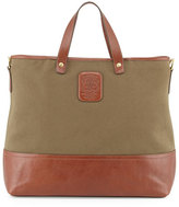 Ghurka Men's Twill and Leather Tote Bag, Olive