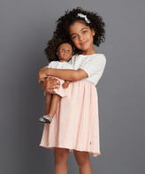 Dollie & Me Ivory & Pink Leopard-Print A-Line Dress & Doll Dress - Girls
