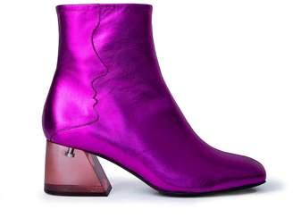Unreal Fields Galaxy - Fuchsia Metallic Mid Heel Boots