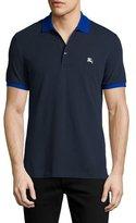 Burberry Camberwell Contrast-Trim Cotton Piqué Polo Shirt, Navy/Cobalt
