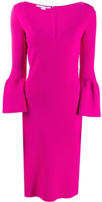 Stella McCartney Compact sweetheart neck midi dress