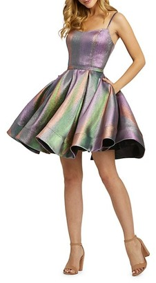 Mac Duggal Metallic Rainbow Fit-&-Flare Dress