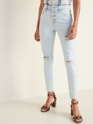 Old Navy High-Waisted Secret-Slim Pockets Button-Fly Distressed Rockstar Super Skinny Jeans for Women