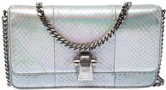 Roberto Cavalli Metallic Silver Python Leather Crossbody Bag