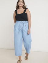 ELOQUII Chambray Paperbag Waist Culotte
