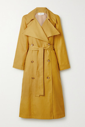 ARIAS Belted Double-breasted Cupro And Cotton-blend Trench Coat - Mustard