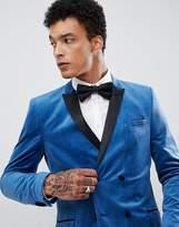 Asos Skinny Double Breasted Blazer In Blue Velvet