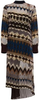 Sacai Printed Knit Chiffon Long Dress