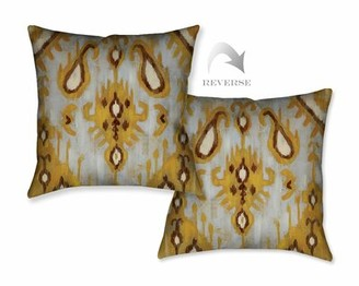 Laural Home Ochre Ikat I Throw Pillow Laural Home