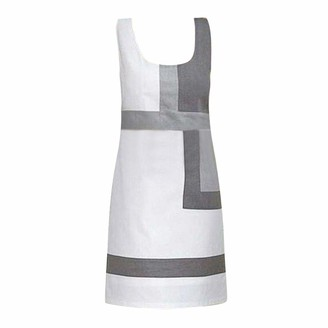 Your New Look Women's Elegant Grey & White Colorblock Geometric Splicing A Line Dress Fashion Sleeveless Shift Tunic Dress Work Dress