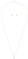 14K Yellow Gold, Akoya Pearl & 0.02 Total Ct. Diamond Pendant Necklace & Stud Earrings Set