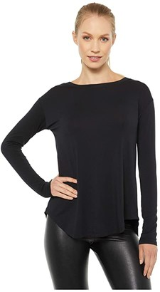 Splendid Studio Kendra Long Sleeve Cross-Back Top (Black) Women's Clothing