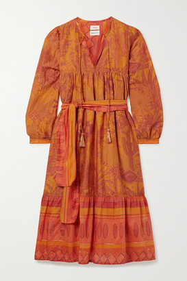 CHUFY Arequipa Belted Tiered Printed Cotton And Silk-blend Voile Dress - Orange